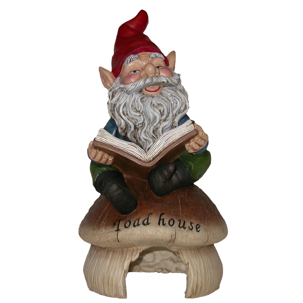 Gnome Reading Book with Toad House