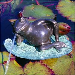 Lazy Frog on Lily Pad Bronze Garden Statue
