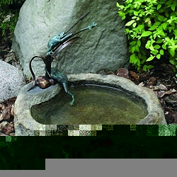 Frogs and Dragonfly with Basin Bronze Garden Sculpture: Lava
