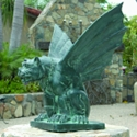 Winged Gargoyle of Naples Solid Bronze Garden Statue - Small