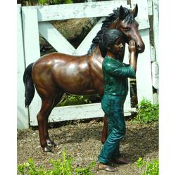 Young Girl with her Horse Bronze Garden Statue