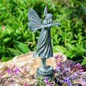 Flower Fairy Solid Bronze Garden Sculpture