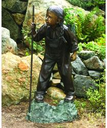 Hiker Girl Solid Bronze Garden Sculpture
