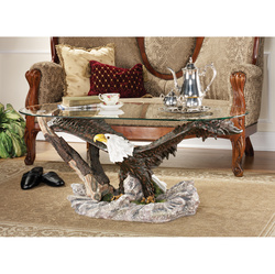 Majestic Soaring Bald Eagle Sculptural Cocktail Table