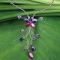Amethyst beaded necklace, 'Butterfly Grace' (Thailand)