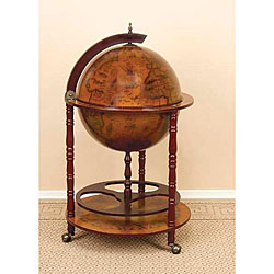 16th Century Style Wood Globe Bar with Wine Rack Holder