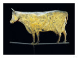 Molded and Gilded Copper Weathervane Depicting a Cow, American, 19th Century