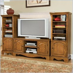Home Styles Furniture Country Casual Wood TV Stand with Side Cabinets in Distressed Oak Finish