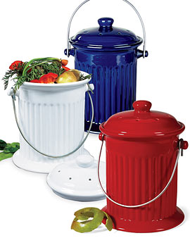 White, Red or Blue Kitchen Compost Crocks