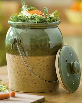 Green Stoneware Compost Crock by Garden Supply Co