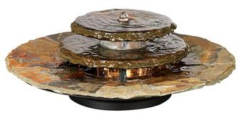 Contemporary Slate Rounds Lighted Table Fountain
